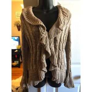 Gold ruffle cardigan sweater